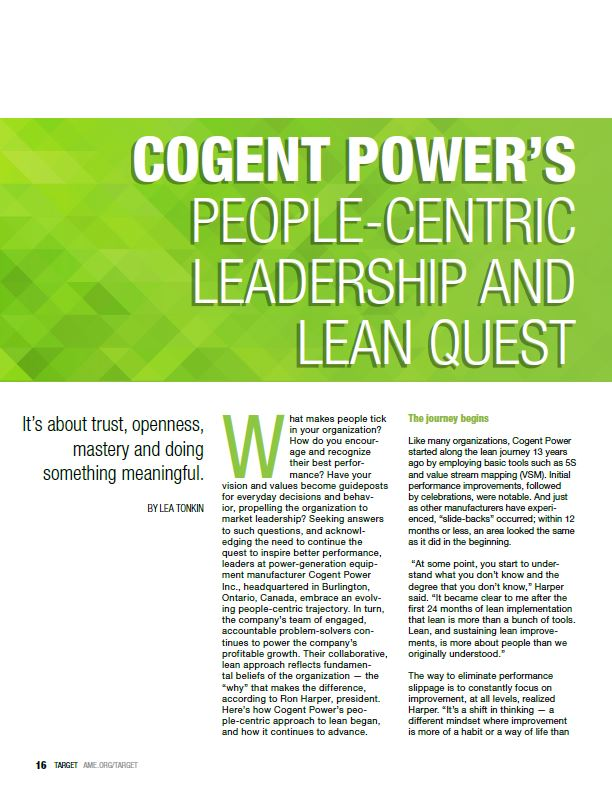 Cogent Power's people-centric leadership and lean quest