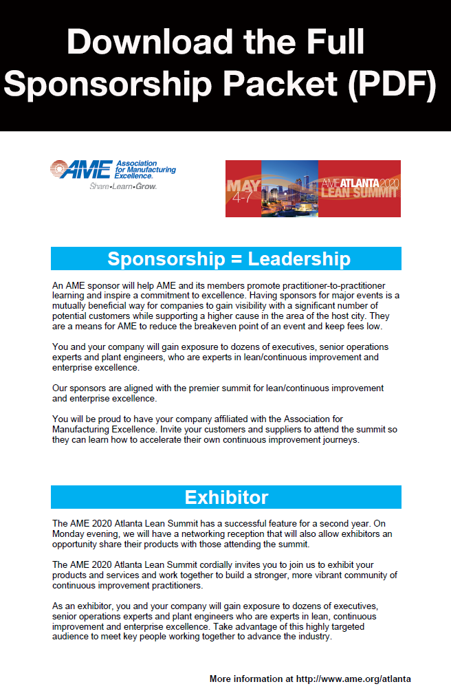 AME 2020 Atlanta Lean Summit Sponsorship Packet Download